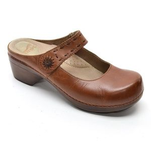 Dansko Solitaire Browm Mary Jane Slip On Clogs 39